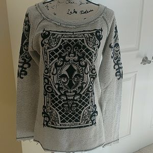 Distressed look, fleur de lis sweatshirt